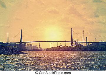 köhlbrand-bridge, 傍晚, hamburgs, port-area