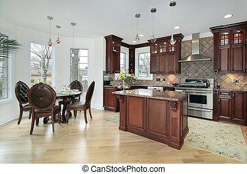 kök, in, färsk, konstruktion, hem