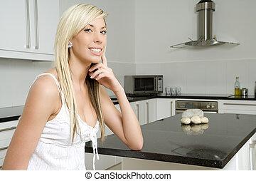kök, kvinna, henne, avkopplande, ung