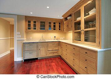 kök, naturlig, lyxvara, källarvåning