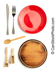 kök, redskapen, isolerat, vita
