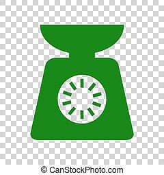 kök skala, skylt., skum grönt, ikon, på, transparent, bakgrund.