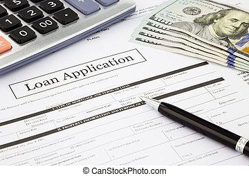 kölcsönad, application alak, és, dollár, banknotes