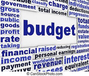 költségvetés, anyagi, poszter, fogalom
