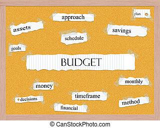 költségvetés, corkboard, szó, fogalom