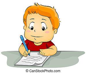 kölyök, írás, képben látható, dolgozat