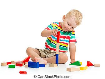 kölyök, fiú, játék, wooden apró