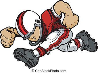 kölyök, foci játékos, futás, vektor, karikatúra