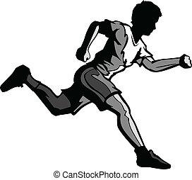 kölyök, futás, vektor, karikatúra