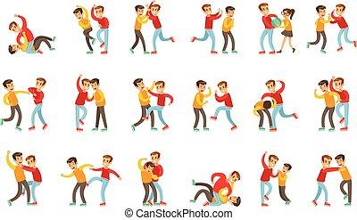 kölyök, gyenge, terrorizál, helyek, tető, hát, kivéve, 2 fiú, hosszú, másik, küzdelem, agresszív, verekszik, kabátujj, ököl, piros