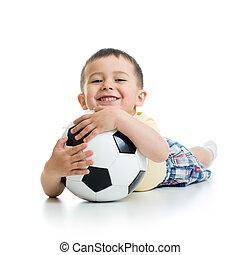 kölyök, háttér, soccerball, fehér, felett, fiú