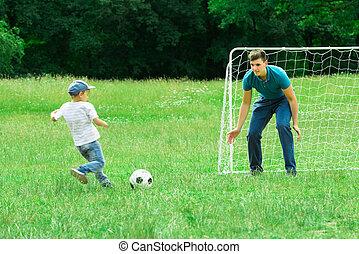 kölyök, játék foci, noha, övé, atya