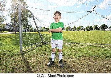 kölyök, játék, futball, képben látható, egy, mező