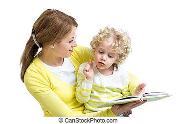 kölyök, könyv, anyu, neki, felolvasás