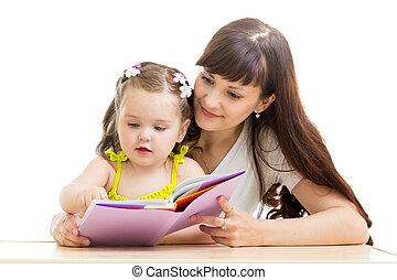 kölyök, könyv, felolvasás, neki, anya