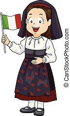 kölyök, leány, hagyományos kosztüm, italian lobogó, ábra