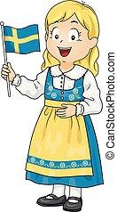 kölyök, leány, jelmez, swedish lobogó, ábra