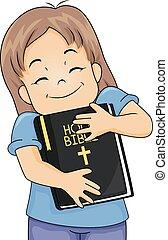 kölyök, leány, megragad, biblia