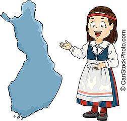 kölyök, leány, térkép, finnország, ábra
