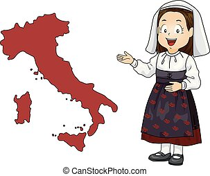 kölyök, leány, térkép, olaszország, ábra