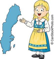kölyök, leány, térkép, svédország, ábra