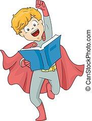 kölyök, superhero, fiú, könyv