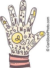 kölyök, tanul, gondolat, ábra, kéz
