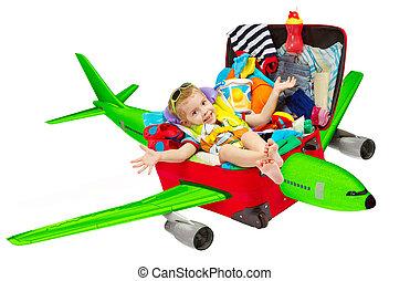 kölyök, utazás, alatt, bőrönd, repülőgép, gyermek, belső, poggyász, repülőgép, repülés, fordíts, szünidő, elszigetelt, felett, white háttér