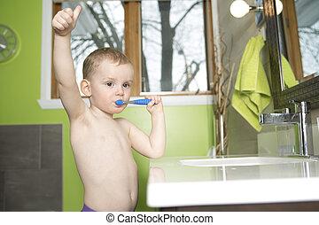 kölyök, vagy, gyermek, csalit fog, alatt, fürdőszoba