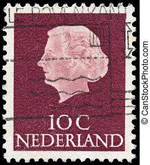 königin, briefmarke, gedruckt, juliana, niederlande, 1953:, euch, niederlande, -, porträt, shows, 1953, (1909-2004), regnant, zirka, königreich