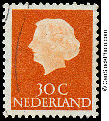 königin, briefmarke, gedruckt, juliana, niederlande, porträt, shows