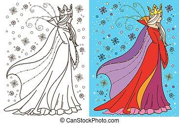 königin, färbung, schnee, buch
