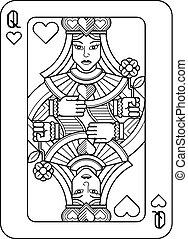 königin, schwarz, herzen, weißes, spielen karte