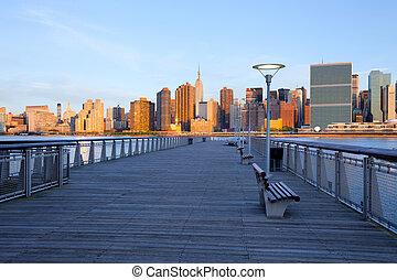 königinnen, stadt, vereinigte staaten, skyline, york, neu