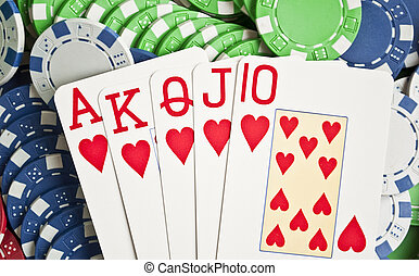 königlich, blitz, auf, poker- späne