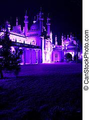 königlich, brighton, pavillon, nacht