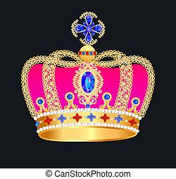 königlich, goldene krone, mit, juwelen