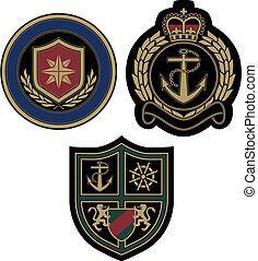 königlich, segel, abzeichen, claissic