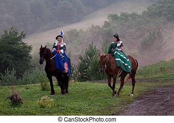 königlich, zwei, reiten, barock, kleiden, frauen
