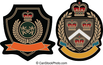 königliches emblem, schutzschirm, akademisch
