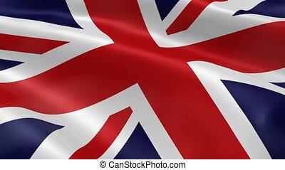 königreich, fahne, vereint, wind.