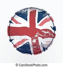 königreich, flag., vereint, grunge