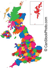 königreich, landkarte, vereint