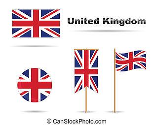 königreich, vereint, flaggen