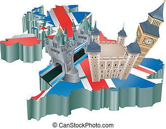königreich, vereint, tourismus