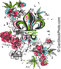 königtum, logo, blume