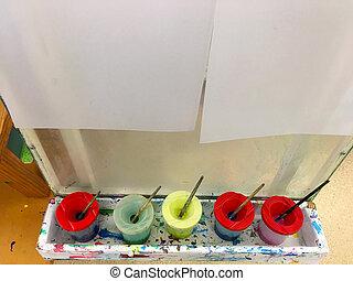könnyít, vízfestmény, hajópapírok, fehér, festmény, blanked