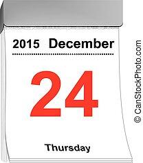 könny, el, naptár, december 24, 2015