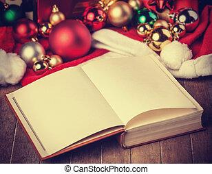 könyv, és, christmas tehetség