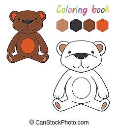 könyv, alaprajz, színezés, játék, gyerekek, hord